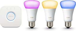 Philips Hue 471960 60W Equivalent White and Color Ambiance Kits, 3rd Generation, Compatible with Alexa (Certified Refurbished) (3 White and Color Ambiance Bulb + Bridge)