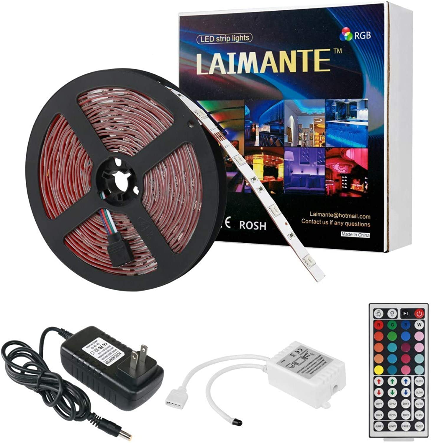 Laimante RGB Led Strip Lights Kit150 Units 5050 LEDs16.4ft 5m 12V DC Led Ribbon Extra Adhesive 3M Tape44 Key IR Remote Controller and UL Listed Power Adapter Included Led Tape Home Decoration