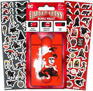 DC Comics Harley Quinn Wallet for Phone Set-- Deluxe Stick on Wallet for Cell Phone with Card Holder, Stand and Stickers (Harley Quinn Accessories)