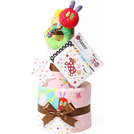はらぺこあおむし おむつケーキ 出産祝い 名入れ刺繍 3段 Sassy ビタット Bitatto 身長計付き バスタオル ピンク 女の子 オムツケーキ ERIC CARLE エリックカール パンパーステープタイプSサイズ