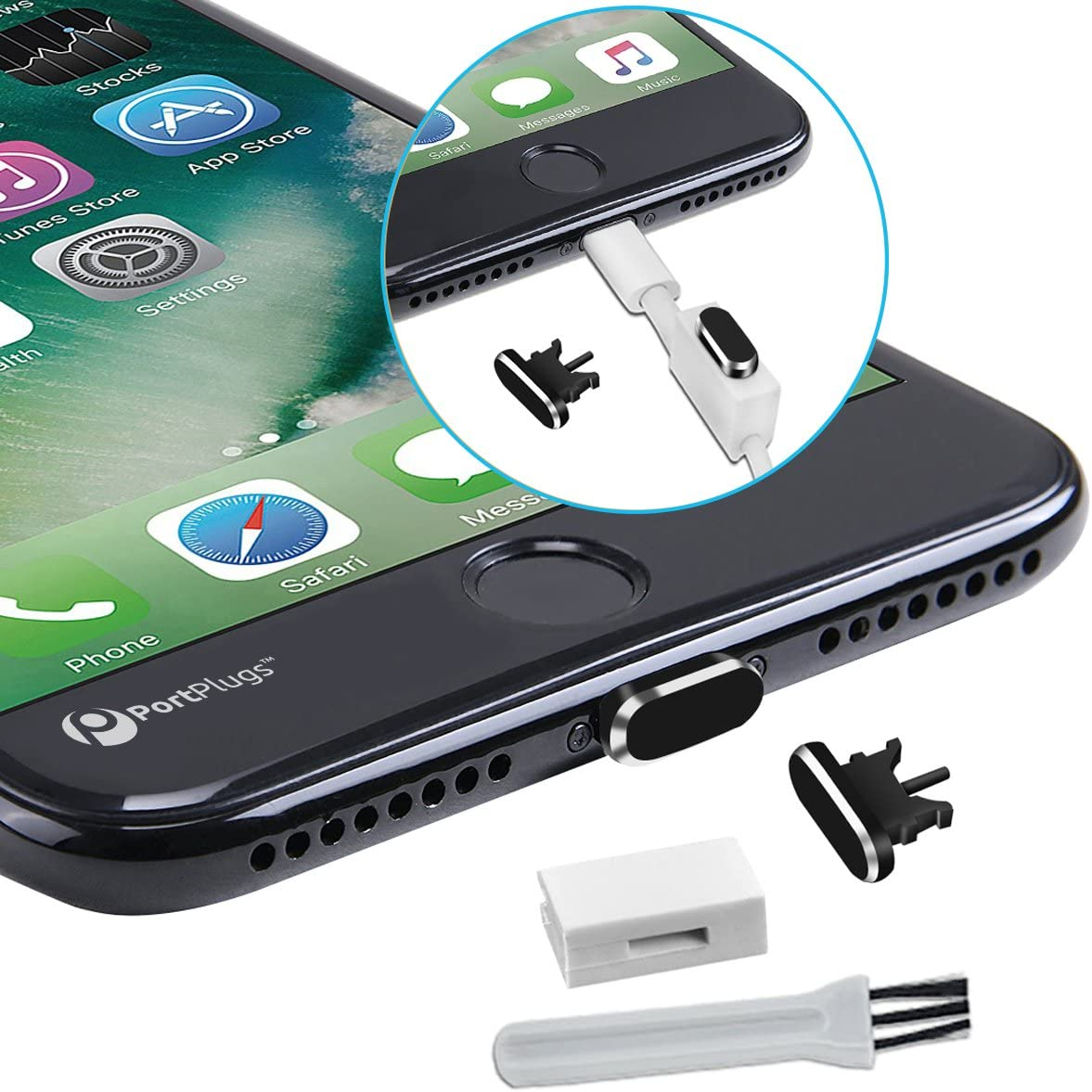 PortPlugs Anti-Dust Plug (2 Pack) Aluminum, Compatible with iPhone 11, X, XS, XR, 8, 7, 6 Plus, Max, Pro, Includes Port Cleaning Brush and Cover Holders (Black)