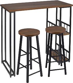 WOLTU 1 Mesa de Bar + 2 Taburete de Bar Mesa de Bistro Sillas y Mesa de Comedor, con 2 Estantes, Estructura de Metal, MDF, 120x50x105cm (WxDxH) Haya Oscura BT25dc+BH130dc-2