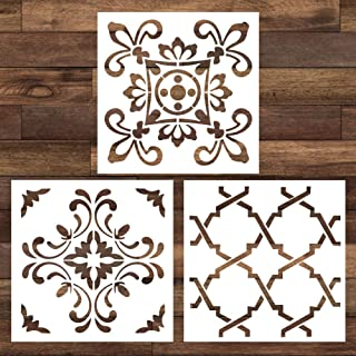 Cieovo 3 Pieces Mandala Floor Stencil (12x12 inch) Reusable Painting Stencil, Laser Cut Painting Template for DIY Art Decor Wall Tile Wood Furniture Fabric