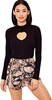 SweatyRocks Women's Soild Knit Mock Neck Slim Fit Cut Out Long Sleeve T Shirt