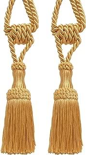 DÉCOPRO Pair of Premium Decorative Light Gold Chainette Tiebacks, 5 inch Tassel Length, 30 inch Spread (Embrace), Color: B7