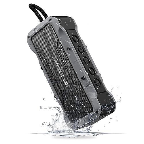 POWERADD Enceinte Bluetooth Portable, Haut-Parleur IPX7 avec Son Puissante 36W de Quatre Pilotes, Musique de 24 Heures, Grande Capacité pour la Fête, Piscine, Camping, Voyage et des Vacances - Gris