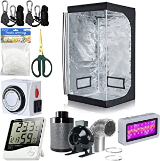 BloomGrow 32''x32''x63'' Grow Tent + 4'' Inline Fan Filter Duct Combo + 300W LED Light + Hangers + Hygrometer + Shears + 24 Hour Timer + Trellis Netting Indoor Grow Tent Complete Kit