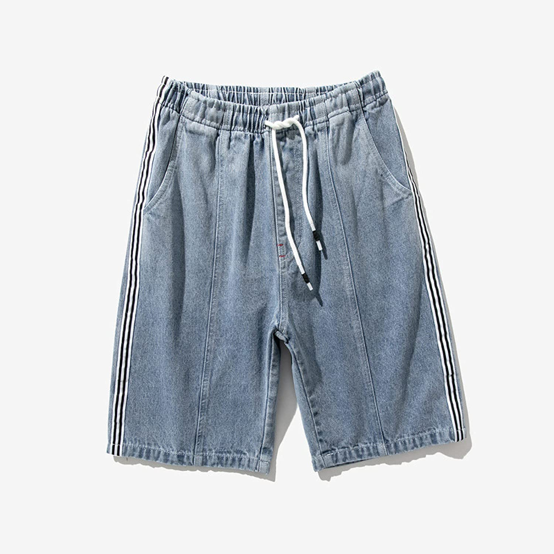 SADWQ Denim Shorts Men's Trousers Fashion Hip Pants Large Size Casual Shorts Summer(Blue,7XL)