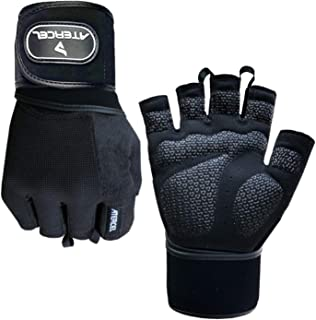 Atercel Weight Lifting Gloves with 20 Leather Wrist Wraps Support, Best Workout Exercise Gloves for Powerlifting, Crossfit, Training, Breathable & Snug Fit - for Men & Women (Pair)