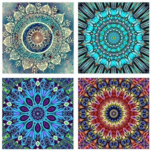 Topus 4 Pack 5D DIY Diamond Painting Set Full Drill Paint Crystal Rhinestone Diamond Embroidery Paintings Pictures for Study Room,Flower Painting(30X30CM/12X12inch)