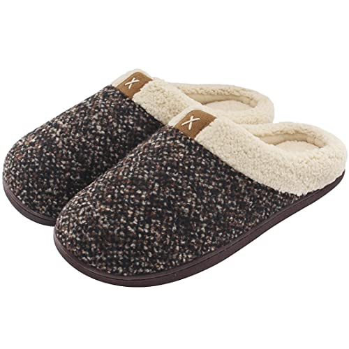 5cb453dcadd44 Men s Comfort Memory Foam Slippers Wool-Like Plush Fleece Lined House Shoes  w Indoor