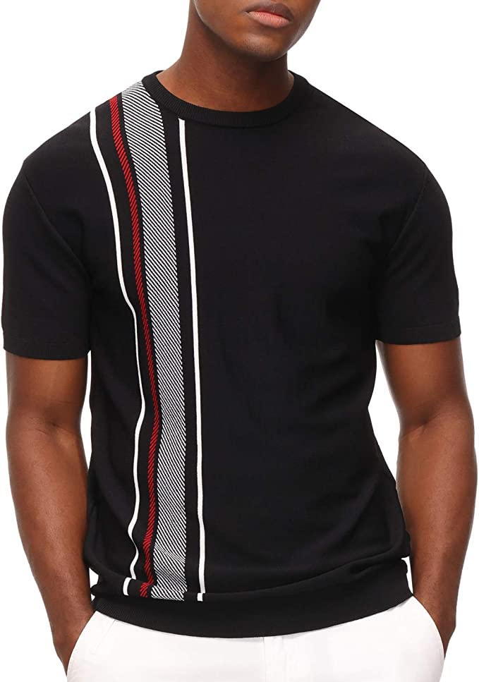 1960s Mens Shirts | 60s Mod Shirts, Hippie Shirts PJ PAUL JONES Mens Vintage Contrast Striped Pullover Sweater Crewneck Short Sleeve Knitwear  AT vintagedancer.com