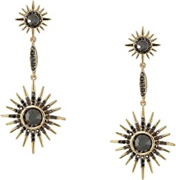 Double Starburst Drop Linear Earrings Hematite