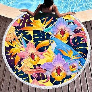 タッセルラウンドビーチタオル ビーチ マット日焼け止めショール 温泉タオル水泳タオル部屋カーペット おしゃれビーチレジャーシートピクニック 円形 ビーチマット 海水浴 レジャー インテリア 厚い ラグマット バーベキュー バッグ 直径150cm,6