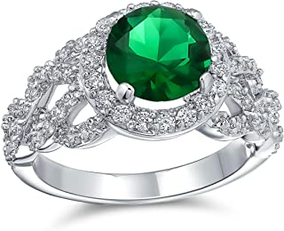 Art Deco Style Personalized 3CT Round Cubic Zirconia Pave Simulated Emerald Green Solitaire Statement Ring Silver Plated B...