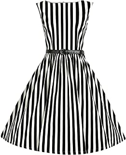Women Striped 50s 60s Rockabilly Prom Party Gown Pinup Swing Dress