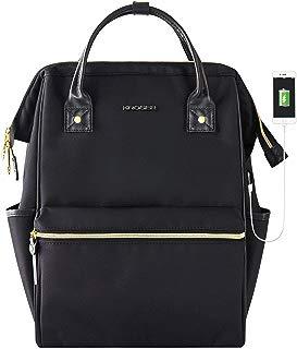 KROSER Laptop Backpack 15.6 Inch Stylish School Computer Backpack Casual Daypack Laptop Bag Water Repellent Nylon Business Bag Tablet with USB Port for Travel/Business/College/Women/Men-Black
