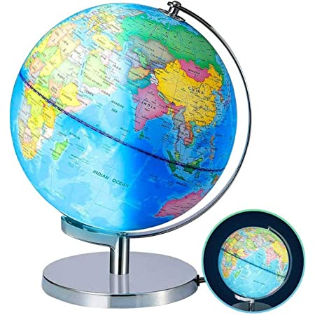 Illuminated World Globes Lamp For Kids Size 8 Educational World Globe With Stand Adults Desktop Geographic Gobles Discovery World Globe Educational Toy For Children Geography Learning Toy Office Products