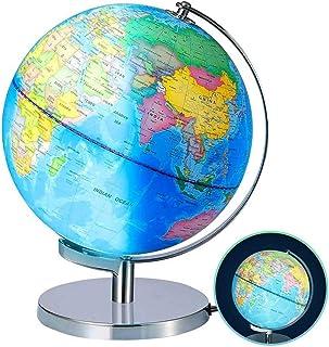 چراغ گلوب جهانی روشن برای کودکان - اندازه 8 اینچ - آموزشی جهانی گلوب با پایه بزرگسالان رومیزی جغرافیایی Gobles Discovery World Globe اسباب بازی آموزشی برای کودکان - اسباب بازی آموزشی جغرافیا