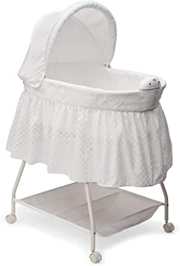 Delta Children Deluxe Sweet Beginnings Bedside Bassinet - Portable Crib with Lights and Sounds, Turtle Dove