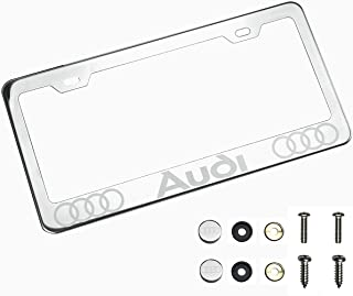 100% Stainless Steel Fit Audi Laser Engrave Chrome Mirror Polish License Plate Frame Holder with Logo Steel Screw Caps
