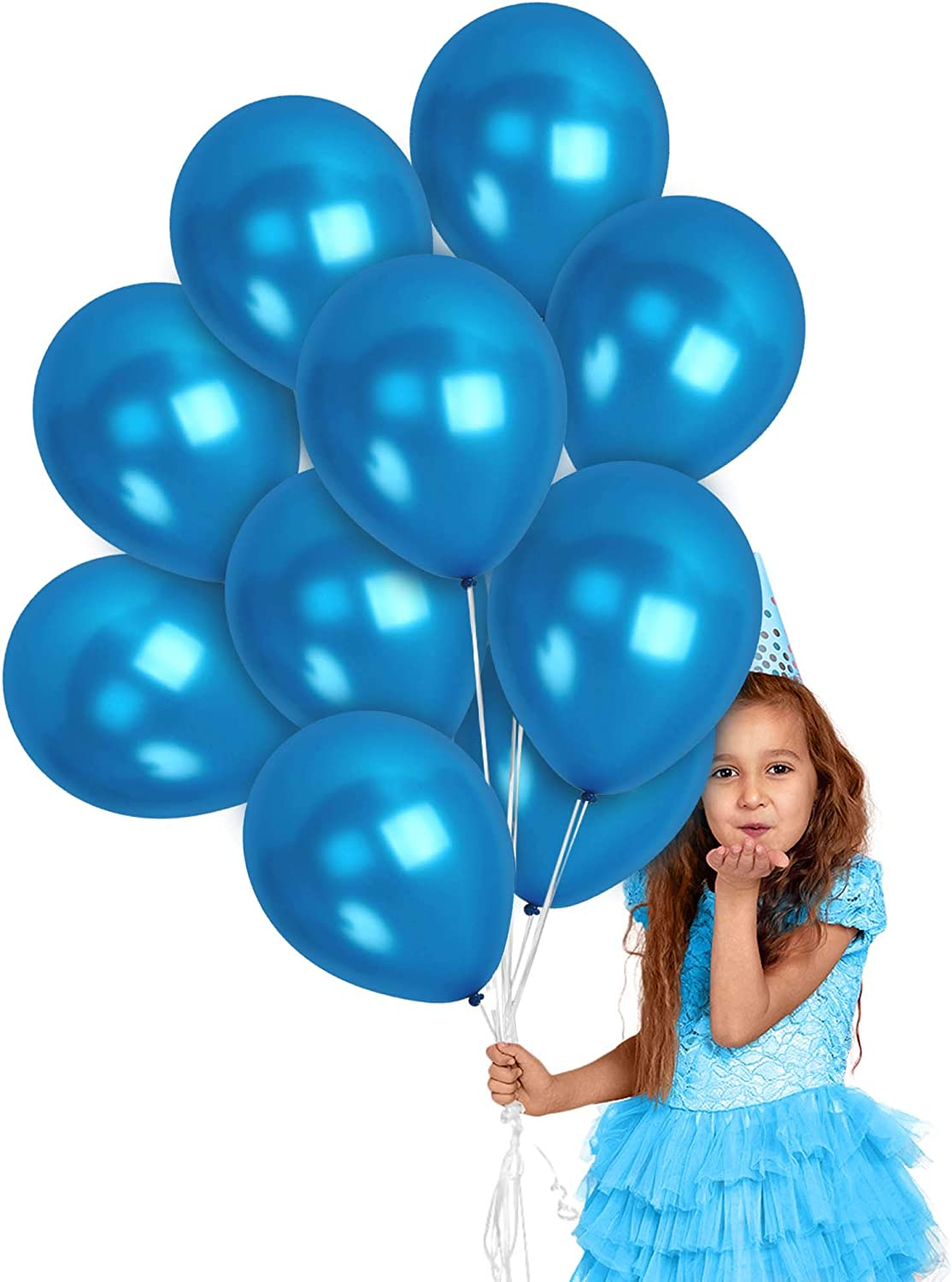 Metallic Royal Blue Balloons 100 Pack - Blue Metallic Balloons 12 Inch for Mermaid Birthday Baby Shower Party the Under Sea Party Graduation Decorations