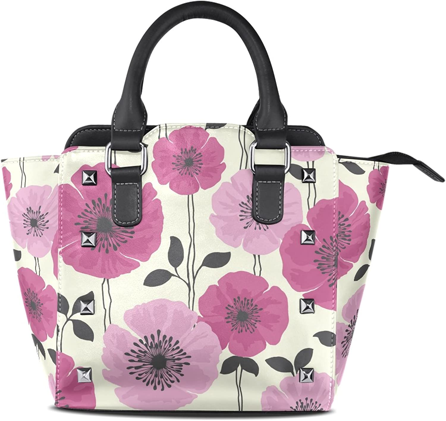 Sunlome Pink Purple Flower Print Women's Leather Tote Shoulder Bags Handbags