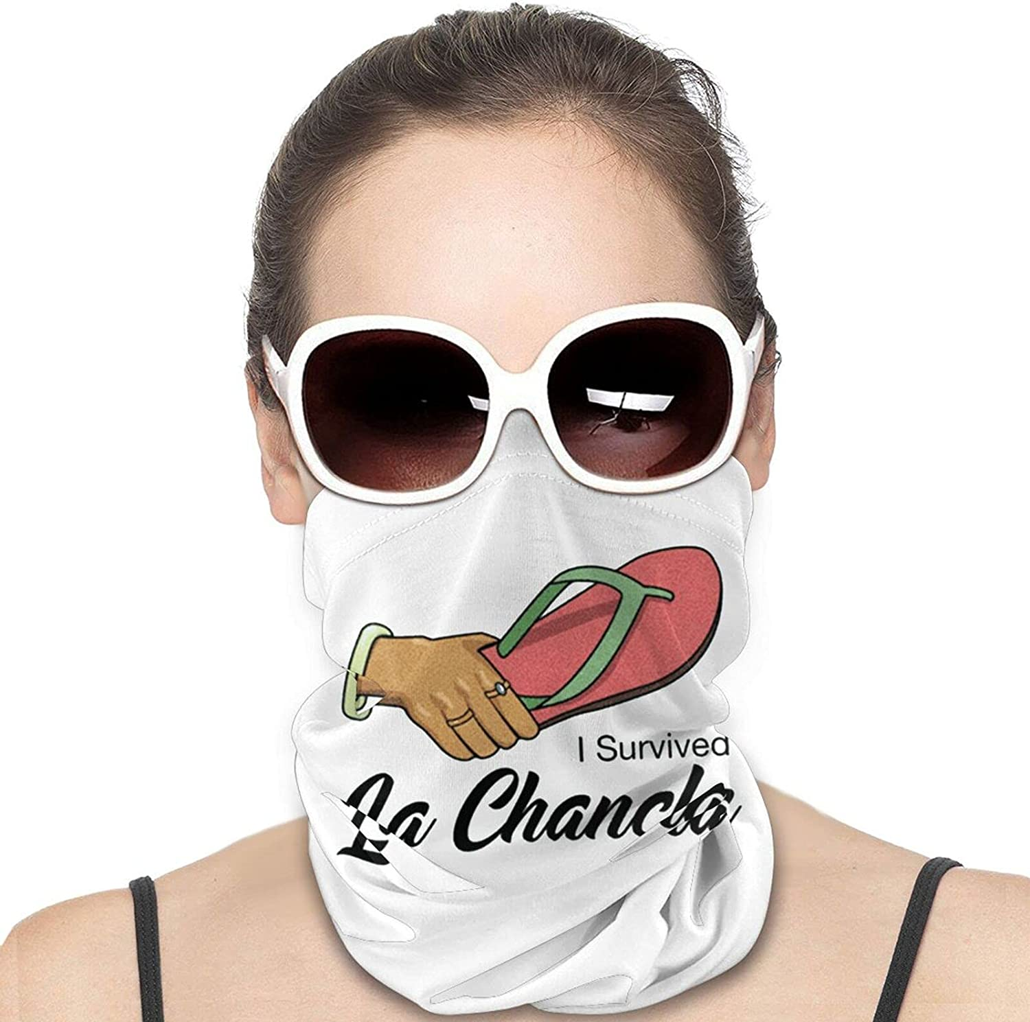 I Survived La Chancla Round Neck Gaiter Bandnas Face Cover Uv Protection Prevent bask in Ice Scarf Headbands Perfect for Motorcycle Cycling Running Festival Raves Outdoors
