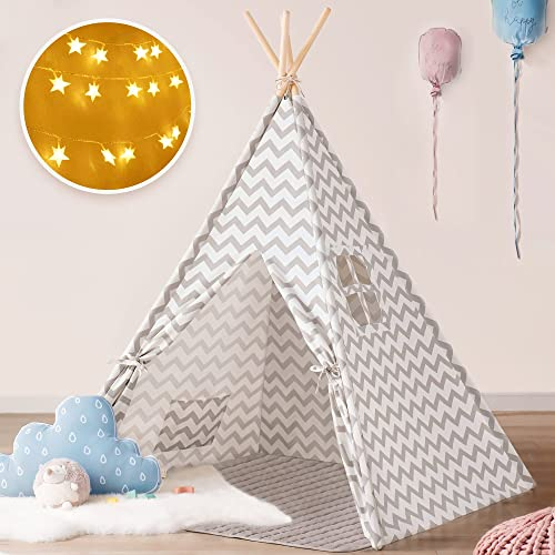 new arrival Tiny Land Teepee Tent for Kids with Padded Mat & Star wholesale Lights, Kids Teepee Play Tent, Large Kids Teepee Tent, Kids Tent, Kids Playhouse, Bed Tent for Kids, Indoor online & Outdoor Toddler Tent for Boy & Girls outlet online sale