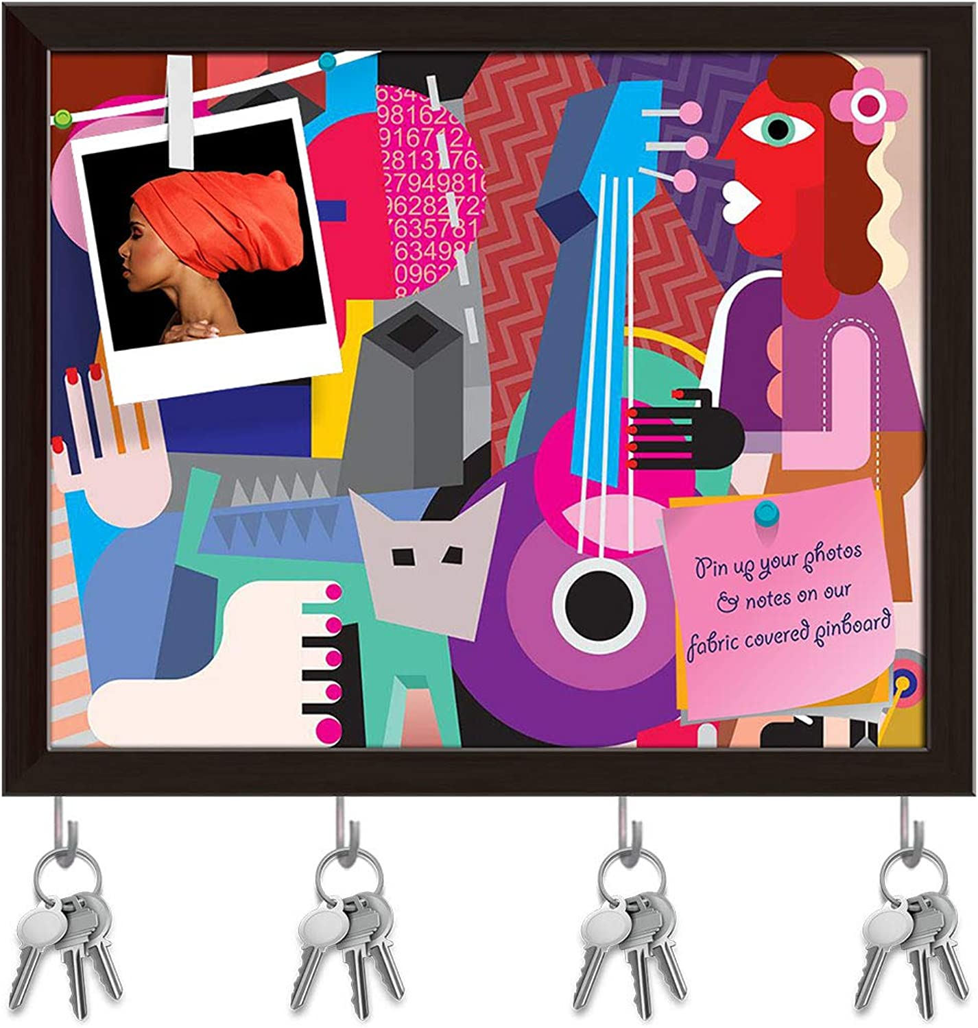 Artzfolio Dancing Couple D2 Key Holder Hooks   Notice Pin Board   Dark Brown Frame 19.8 X 16Inch