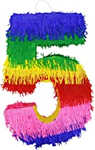 Lytio Number 5 Multicolor Party Small Pinata for 5th Birthday, Centerpiece, Decoration, Anniversary, Décor, Photo Prop, Party Supplies, Mexican Piñata Game