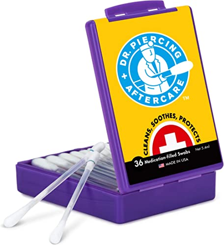 Dr. Piercing Aftercare Solution - 36 Medicated Swabs Treat Ear, Nose, Belly, and Body Piercings - Each Swab Contains ...