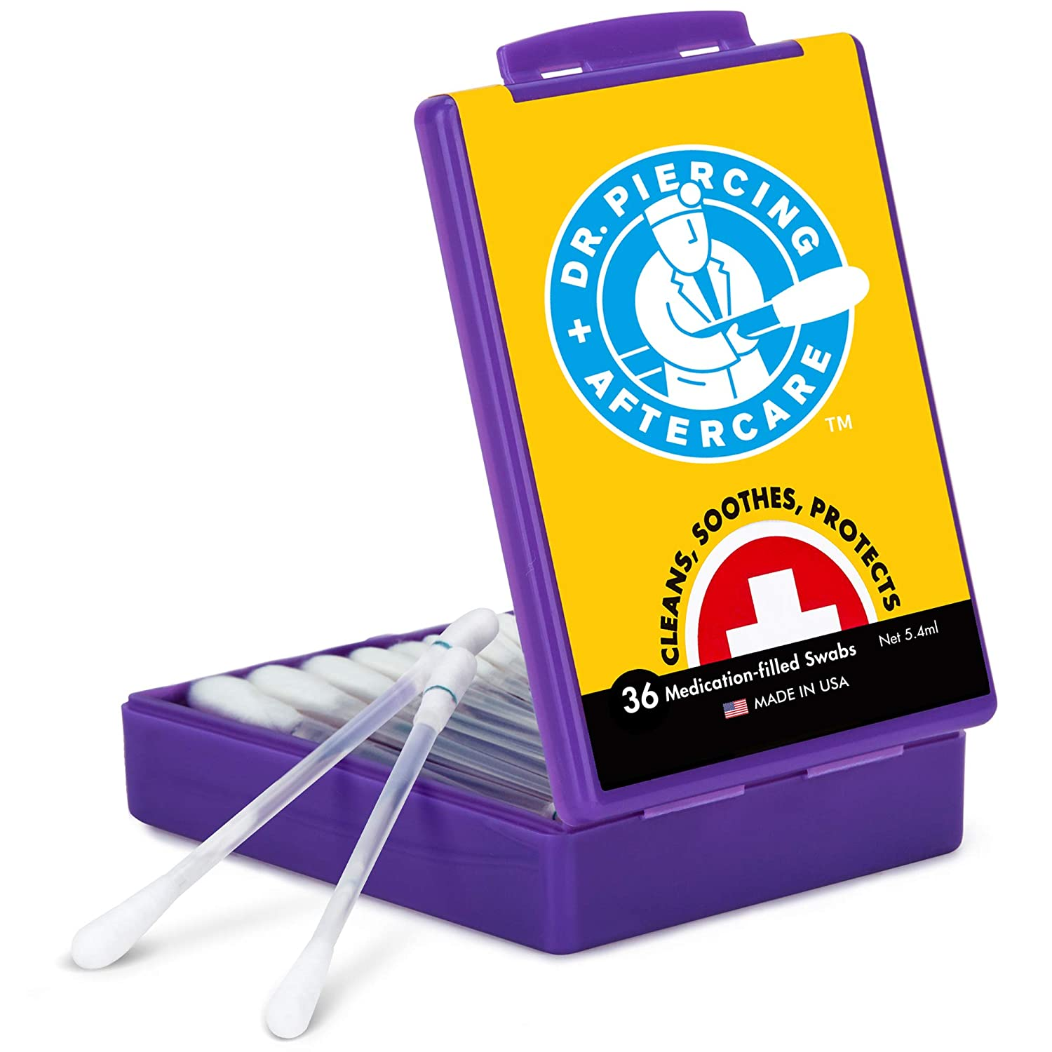 Dr. Piercing Aftercare - Product 2021 spring and summer new 36 Medicated Swabs Treat Nose Ear Bel