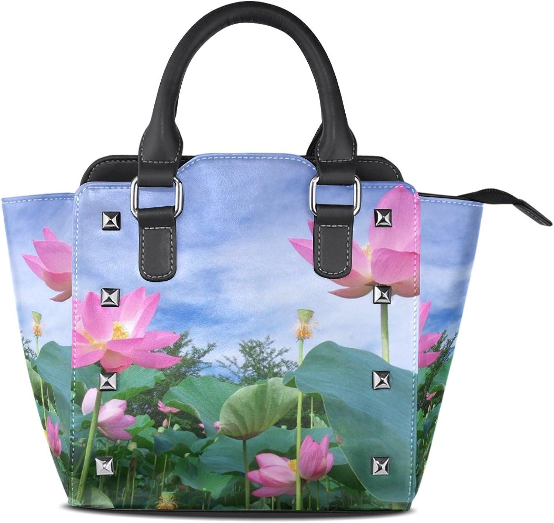 Sunlome Pink Lotus Flower Print Women's Leather Tote Shoulder Bags Handbags