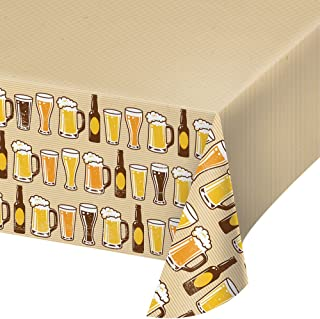 """Creative Converting 324453 Cheers & Beers Plastic Border Print Tablecover, 54"""" x 102"""", Ivory"""