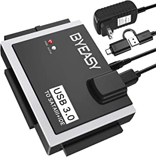 """BYEASY SATA/IDE to USB 3.0 Adapter, USB-A and USB-C Plugs Hard Drive Adapter for Universal 2.5""""/3.5"""" Inch IDE and SATA Ext..."""