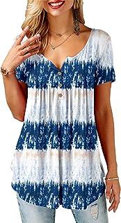 KISSMODA Damesshirts met korte mouwen, tuniek, top, ruches, effen blouses
