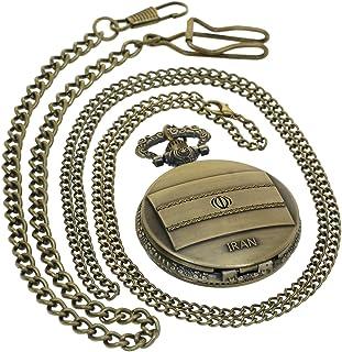 Iran Flag Quartz Pocket Watch Fob Retro Hunter Vintage Arabic Numerals Scale Watch with 1 PC Necklace Chain 1 PC Clip Key Rib Chain