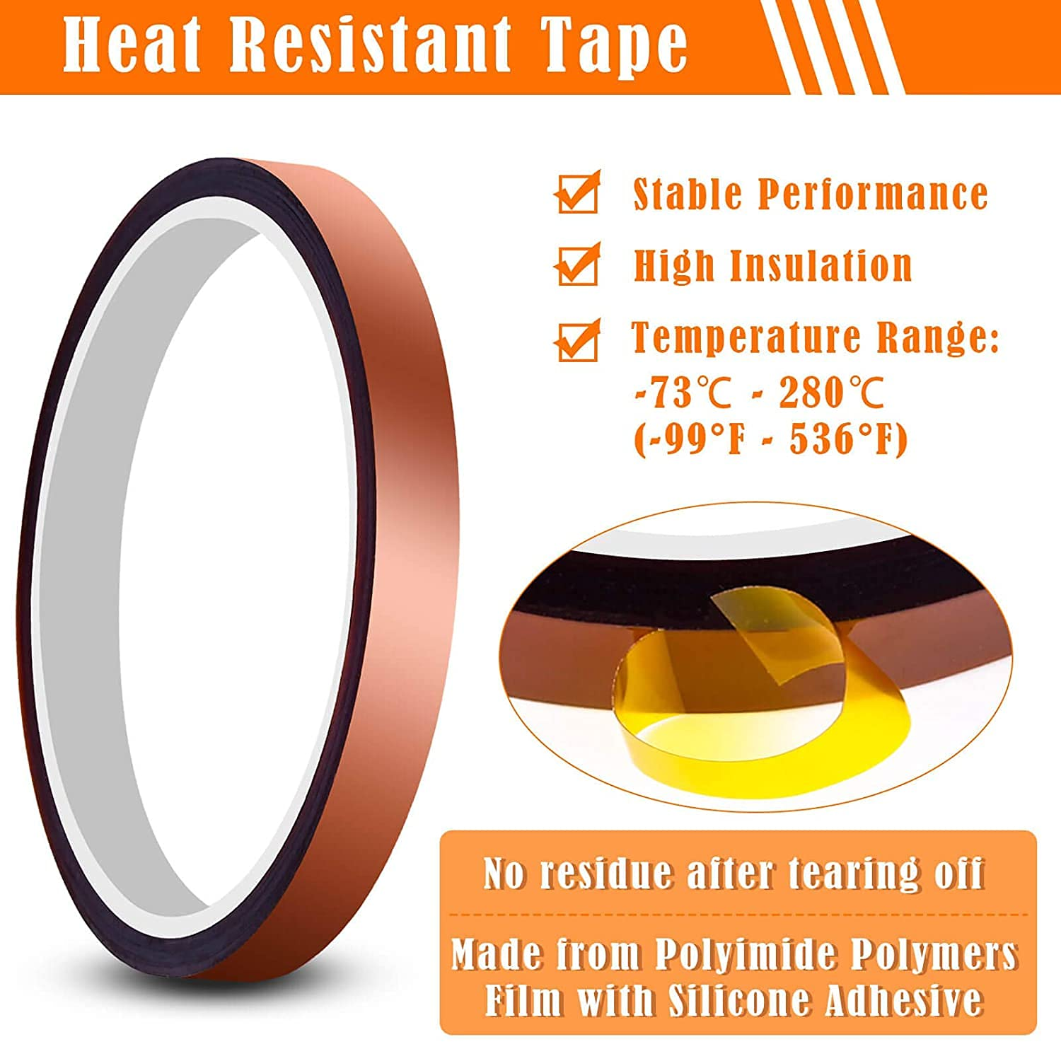 DELFINO Heat Tape for Heat Press, Heat Transfer Tape Heat Resistant High Temperature Tape for Heat Transfer Masking 3D Printing Sublimation on Coffee Mugs, HTV Craft on T-Shirt Fabrics, 6 Packs