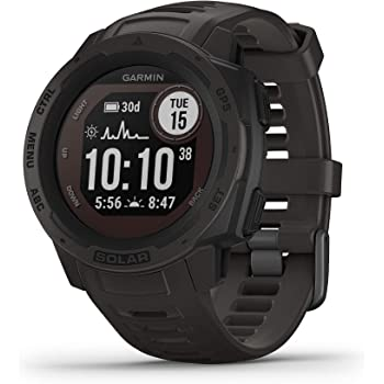 Garmin Instinct Solar, Solar-Powered Rugged Outdoor Smartwatch, Built-in Sports Apps and Health Monitoring, Graphite, One Size (010-02293-10)