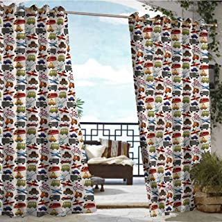 Outdoor Balcony Privacy Curtain Boys Room,Motorcycle Bus Crane,W72 xL84 for Patio Light Block Heat Out Water Proof Drape