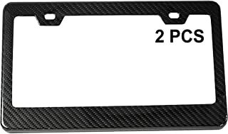ICBEAMER Black Carbon Fiber Surface Custom License Plate Frame Tag Snap Fit Front Rear Auto Car Truck [Come with 2 pcs]