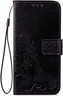 Galaxy J3 2017,J3 Emerge,J3 Prime,J3 Mission,J3 Eclipse Case, [Flower Embossed] PU Leather Wallet Flip Folio Protective Case Cover with Card Holder and Stand for Samsung Galaxy J3 2017 J320 (Black)