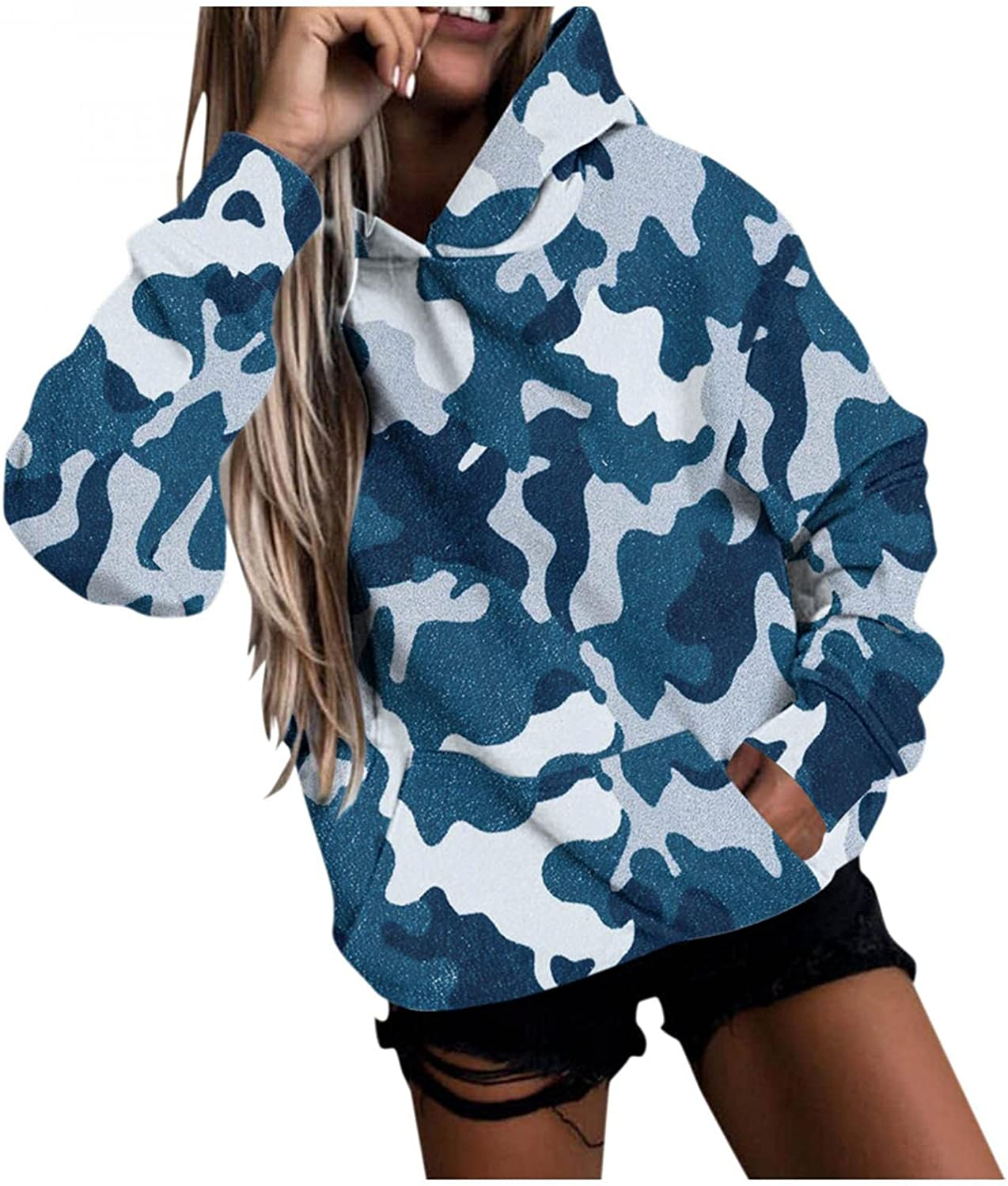 Haheyrte Womens Hoodies Animal Print Long-sleeved Hooded Sweatshirts Casual Blouse Pullover Tops Shirts Sweaters