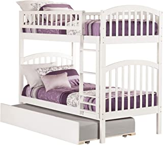 Atlantic Furniture Richland Bunk Bed with Twin Size Urban Trundle, Twin/Twin, White