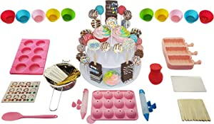 Cake Pop Maker Kit for Home Bakers – Set Includes Silicone Molds For Lollipop, Cake Pop, Cupcakes, Cakesicle Mold, Spoon, 3 Tier Stand, 2 Decorative Pens, Bags, Twist Ties, Stainless Steel Boiling Pot