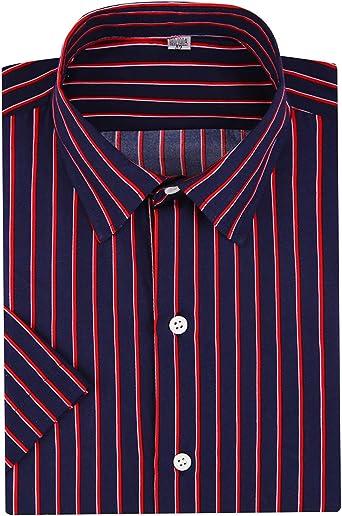DOKKIA Camisas de vestir de rayas verticales para hombre