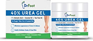 Dr Foot 40% Urea Gel with 1% Salicylic Acid, Coconut & Tea Tree Oil Moisturizes Callus Cracked Rough Dry Dead Skin and Cor...