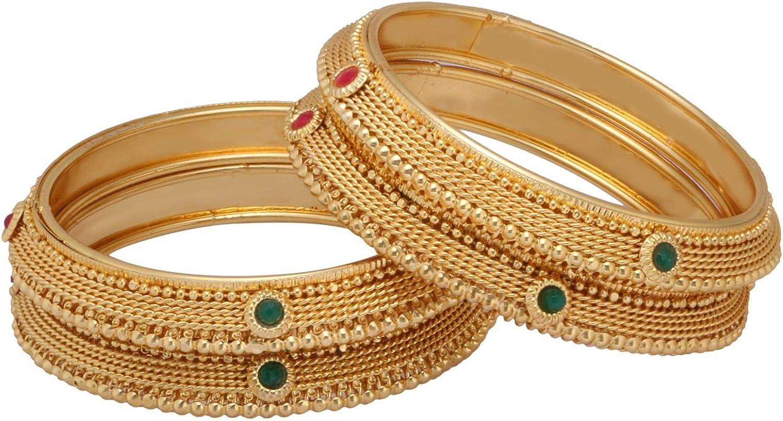 Efulgenz Indian Style Bollywood Traditional Gold Plated Kundan Stone Wedding Bracelet Bangle Set Jewelry