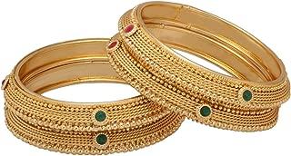 Indian Style Bollywood Traditional Gold Plated Kundan Stone Wedding Bracelet Bangle Set Jewelry (2 Pc)
